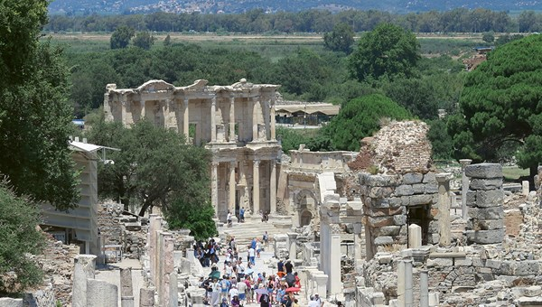 The ruins of ancient Ephesus are a major draw for cruise ships calling in Kusadasi, Turkey.