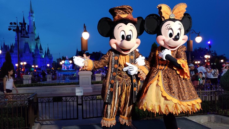 mickey and minnie preside over this years not so scary halloween party at magic