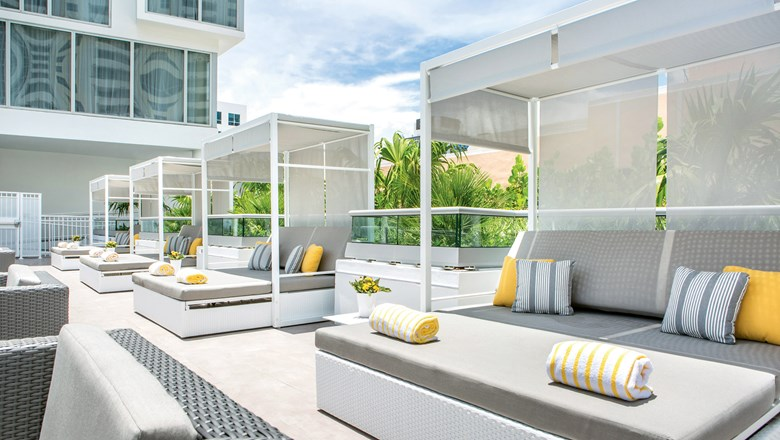 The rooftop deck pool lounge at the Hyatt Centric South Beach Miami.