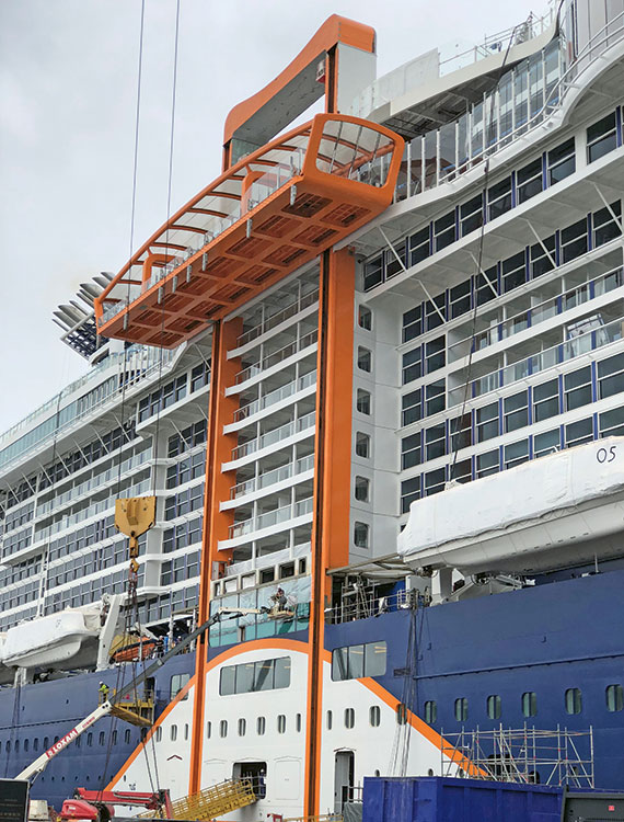 The Magic Carpet platform is the most iconic feature on Celebrity Edge.