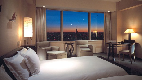 A deluxe room at the Park Hyatt, which occupies the top 14 floors of a 52-story building.