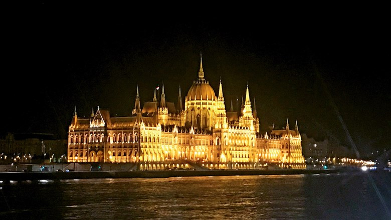 The illuminated Hungarian Parliament Building in Budapest is not to be missed, no matter the level of the Danube.