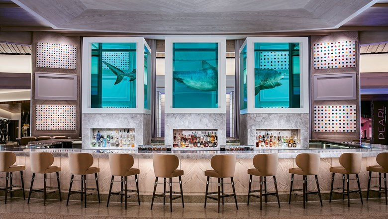 A trisected tiger shark by Damien Hirst is the selfie-worthy centerpiece of the new Unknown bar on the casino floor of the Palms.