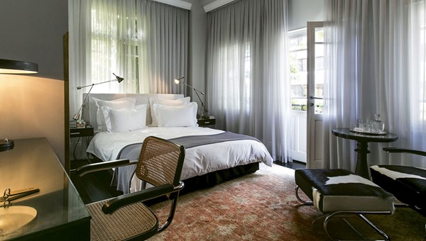 A guestroom at the Hotel Montefiore, a boutique property with 12 rooms.