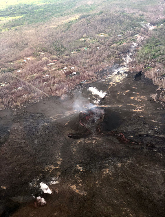 Steam venting from Fissure 8, one of the prime sources of lava that added more than 800 acres to the Big Island during the Kīlauea volcano eruption from May through August.