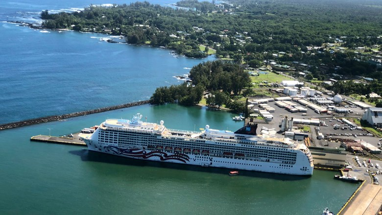 Norwegian Cruise Line's Pride of America docked in Hilo, Hawaii.