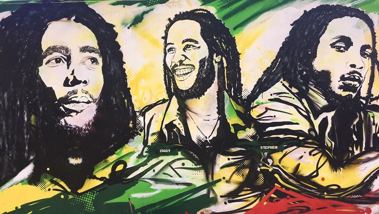 A mural at the Bob Marley Museum in Kingston, Jamaica.