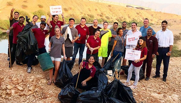 A team from the Crowne Plaza Muscat in Oman helped clean up local wetlands.