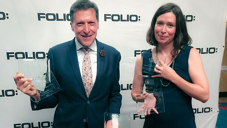 Travel Weekly editor in chief Arnie Weissmann and managing editor Rebecca Tobin at the 2018 Folio Awards.