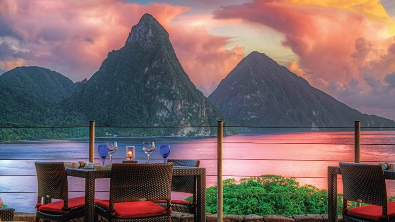 St. Lucia's majestic Pitons at sunset as seen from Jade Mountain's Celestial Terrace.