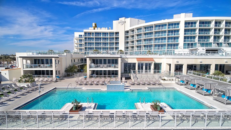 The main pool deck and Wave Terrace at the Hard Rock Hotel Daytona Beach.