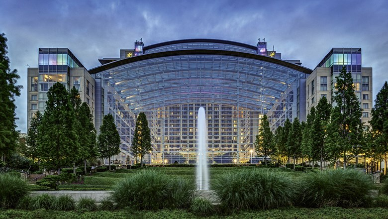 The atrium of the Gaylord National Resort & Convention Center is a focal point at National Harbor.