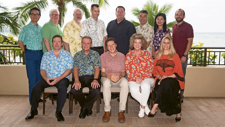 Back row, from left: Harris Chan, Marriott; Jerry Gibson, Hilton; Terry Jones, Essential Ideas; Peter Ingram, Hawaiian Airlines; Ray Snisky, Apple Leisure Group; David Hu, Classic Vacations; Jennie Ho, Delta Vacations; and Tovin Lapan, Travel Weekly. Front row, from left: Sean Dee, Outrigger Hotels and Resorts; Jack Richards, Pleasant Holidays; Arnie Weissmann, Travel Weekly; Jenn Lee, Travel Planners International; and Elizabeth Churchill, Churchill Group.