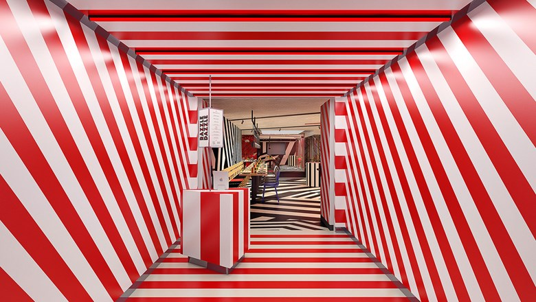 The bold stripes of the Razzle Dazzle restaurant.