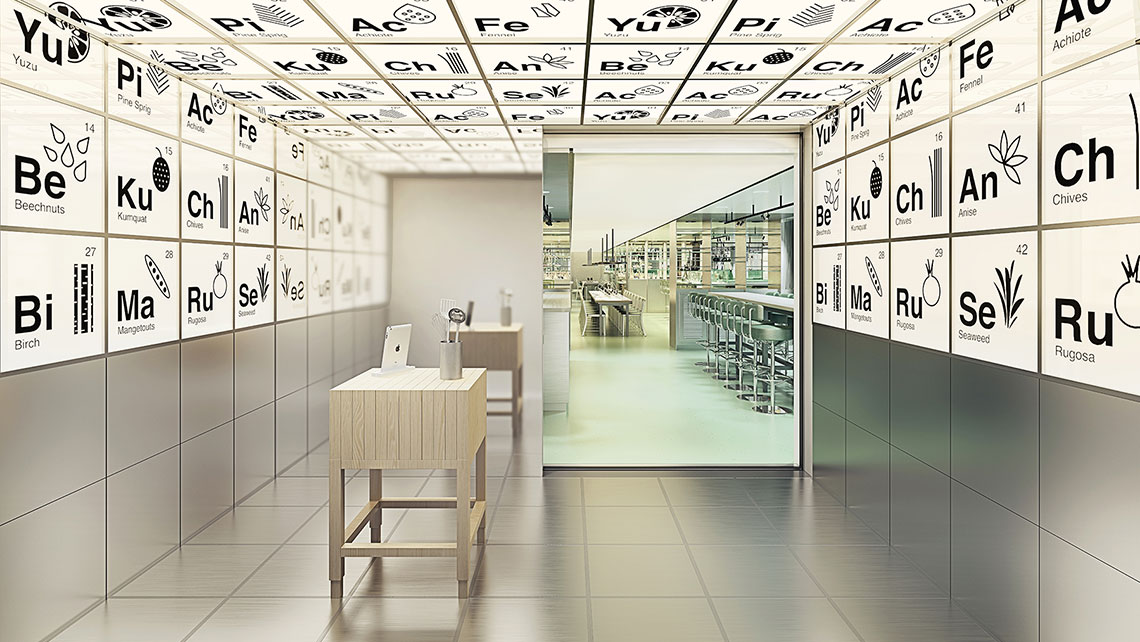 The laboratory-inspired Test Kitchen will be home to chef-table dinners.