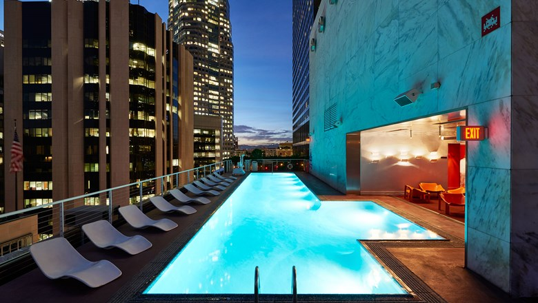 The pool area at the Standard Downtown L.A.