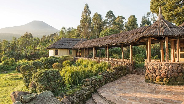 The Mount Gahinga Lodge, one of Volcanoes Safaris' four luxury lodges in the Virunga Mountains region.