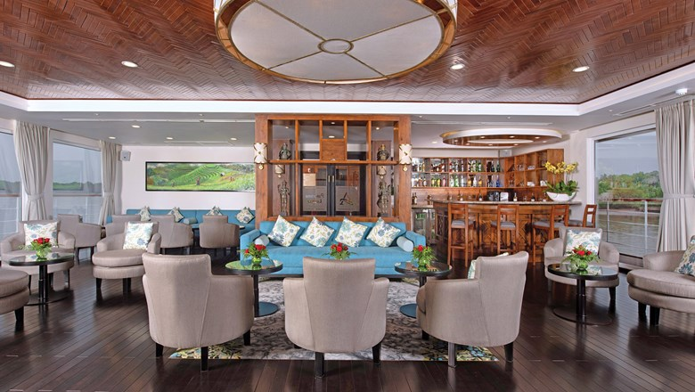 The Panorama Lounge onboard the Avalon Saigon, which sails the Mekong on 13-day itineraries.