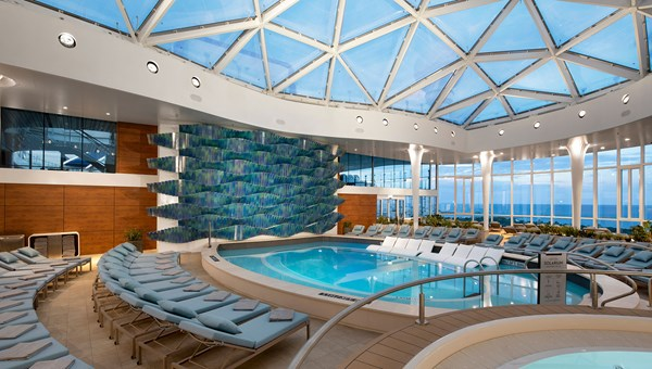 The ship's adults-only Solarium features three-dimensional art that represents the colors and movement of the ocean.