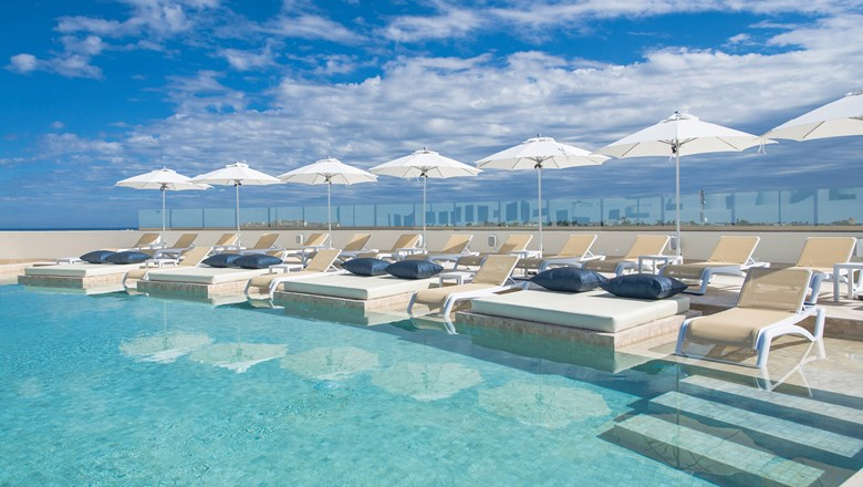The rooftop infinity-edge pool at the Izla Hotel on Isla Mujeres.