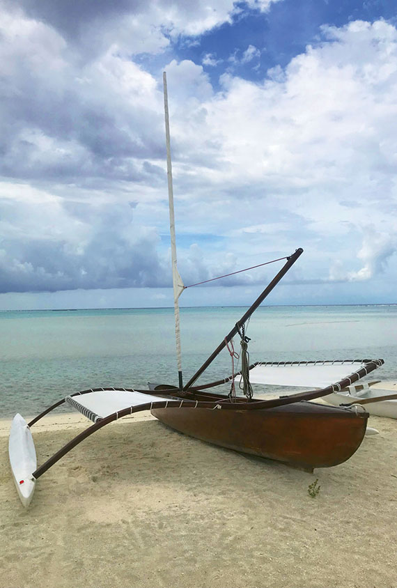 A sailboat used for tours at the Brando, the exclusive resort on Tetiaroa.