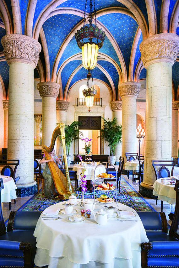 The hotel's grand Mediterranean style lobby, where two servings of high tea are offered daily.