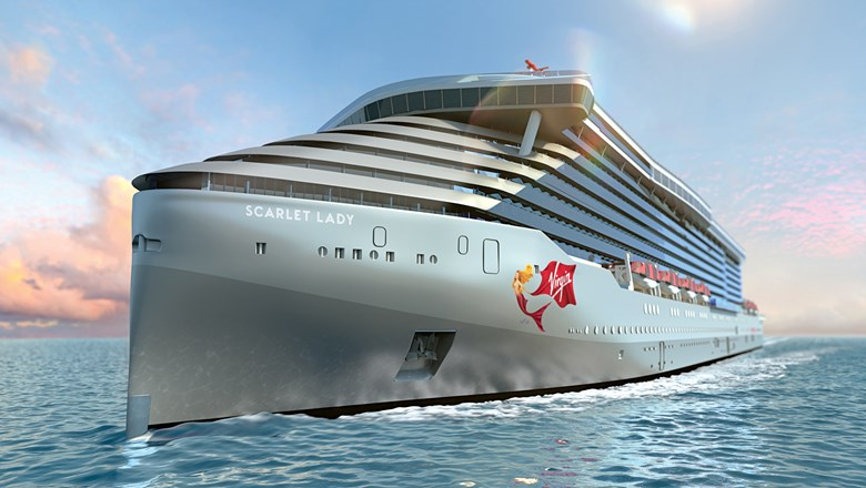A rendering of Virgin Voyages' first ship, to be called Scarlet Lady.