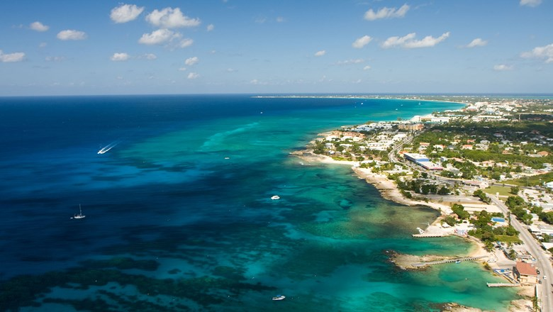 An aerial view of the Cayman Islands.