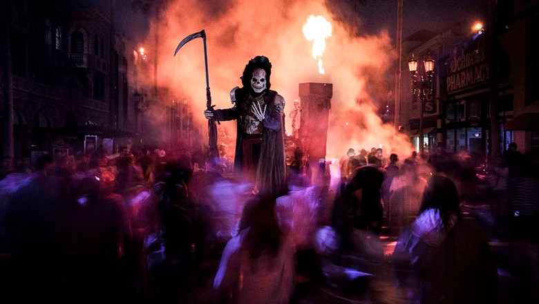 The Spectre of Death greets guests during Halloween Horror Nights at Universal Studios Florida.