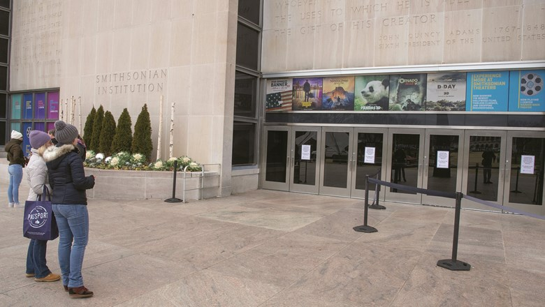"""Closed"" signs greet visitors at the National Museum of American History."