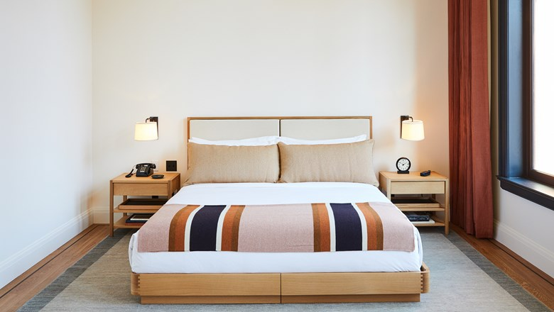 Goods from Shinola are showcased in guestrooms and available for purchase at the Shinola Hotel in Detroit.