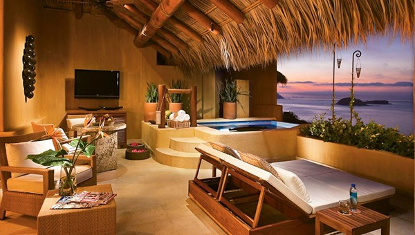 An outdoor terrace at the resort. The resort's Ixtapa Spa offers a menu of couples massages and other treatments.