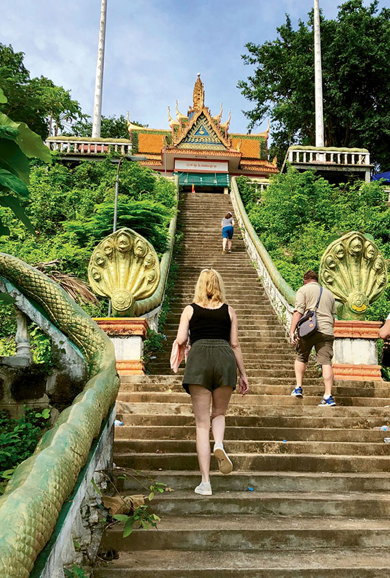 The Wat Hanchey pagoda and monastery awaits at the end of a 330-step climb.