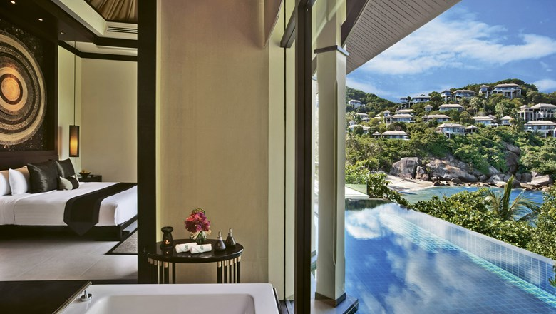 The private infinity pool and view from an Ocean View Pool Villa at the Banyan Tree Samui on Ko Samui, Thailand.