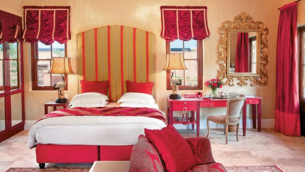A guestroom at La Residence in the Franschhoek valley, one of South Africa's renowned wine growing regions.