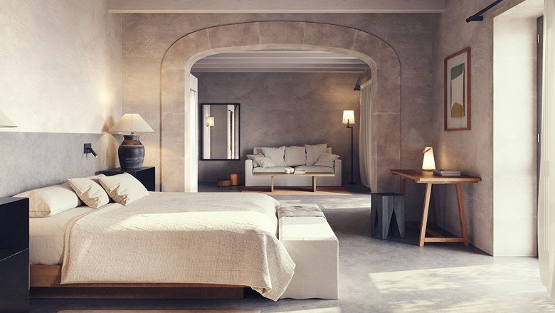 A guestroom at Finca Serena on Mallorca.