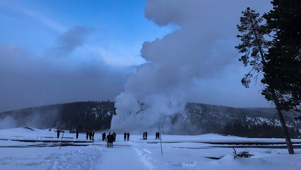 Old Faithful erupts at Yellowstone National Park.