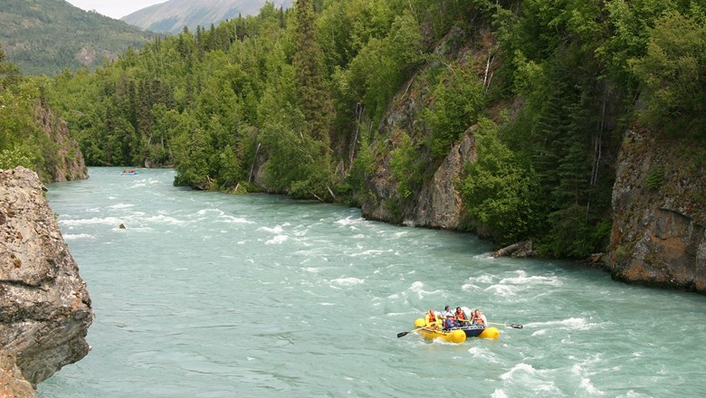 Alaska Wildland Adventures' new Alaska Explorer itinerary includes river-rafting in the Kenai Canyon.