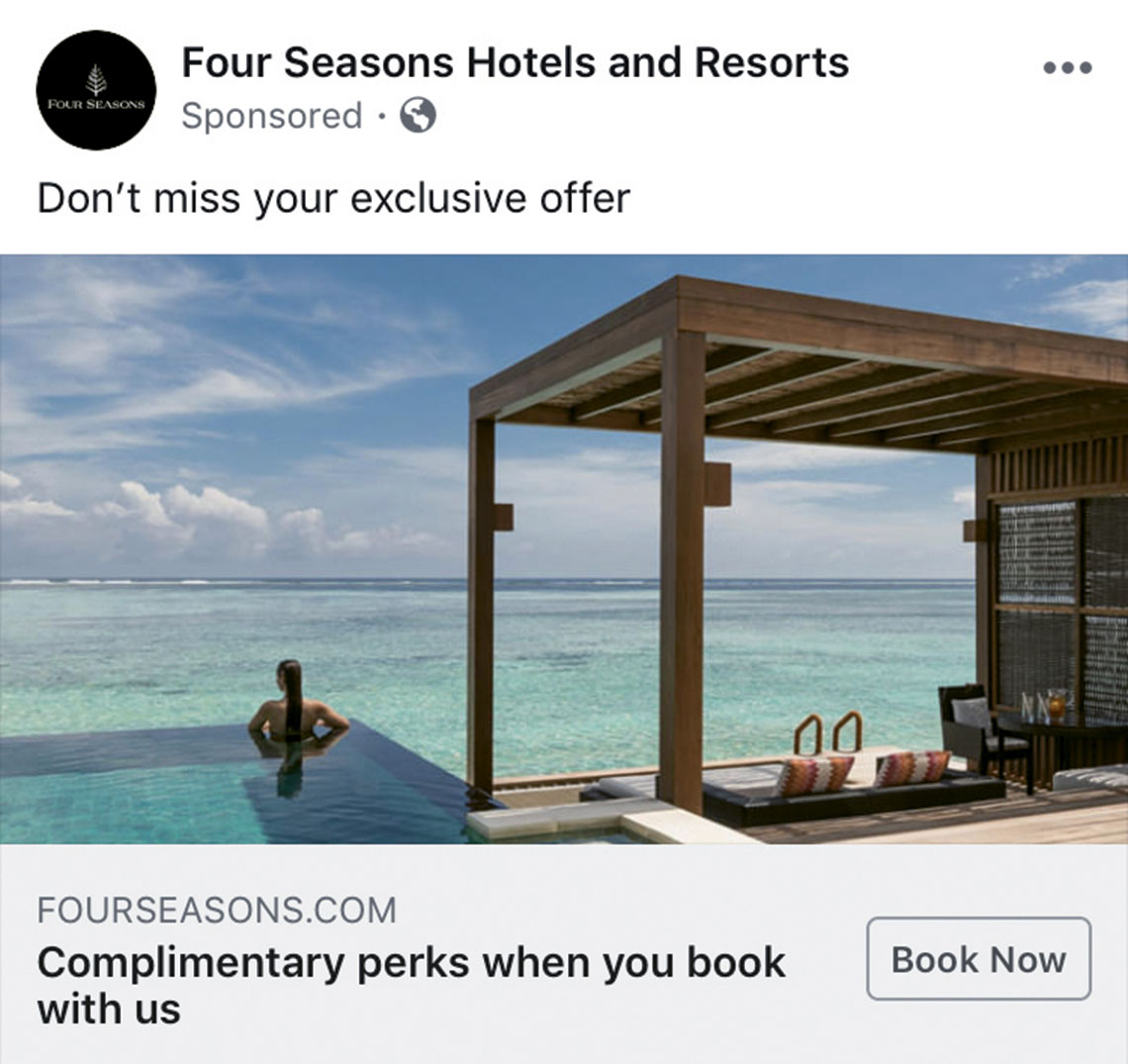 A screenshot of one of Four Seasons' social media ads touting perks when booking direct.