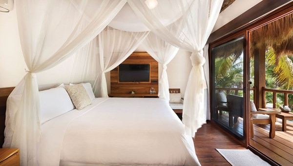 A suite at the Mukan Resort, which features four beachfront bungalows and five suites.