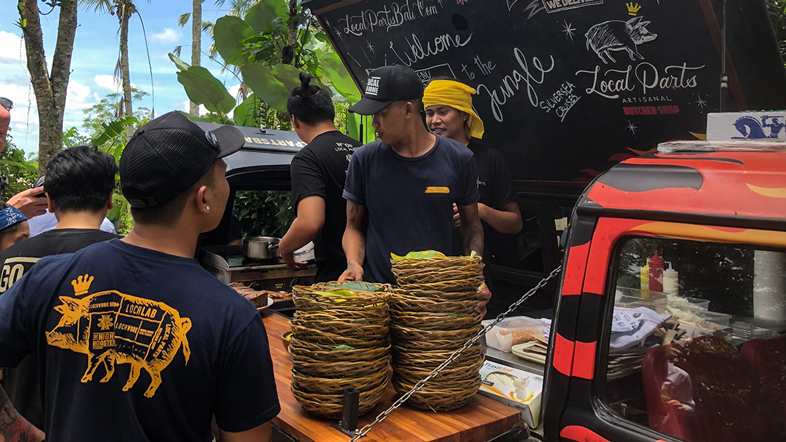 In a clearing, Silversea guests on a shore excursion in central Bali were treated to lunch cooked in a microbus converted into a mobile grill.