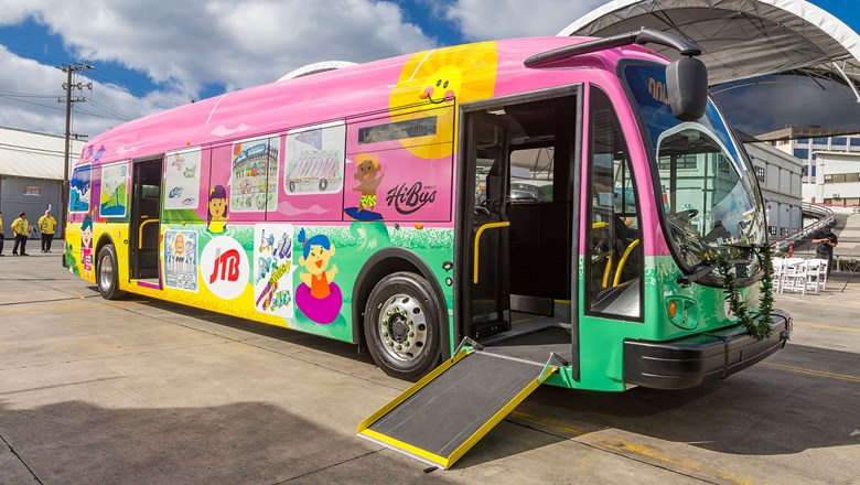 "The buses feature exterior wraps inspired by Hawaiian children who participated in the Blue Planet Foundation's ""Driving Forward"" Art Challenge program."