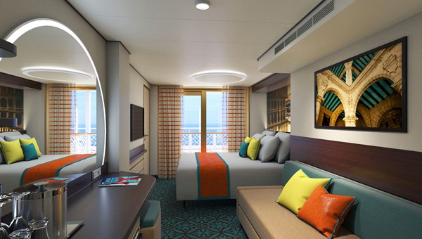 Guests in the tropics-inspired Havana staterooms have access to an exclusive open deck with sun loungers, a Cuban-themed bar and relaxation pool.