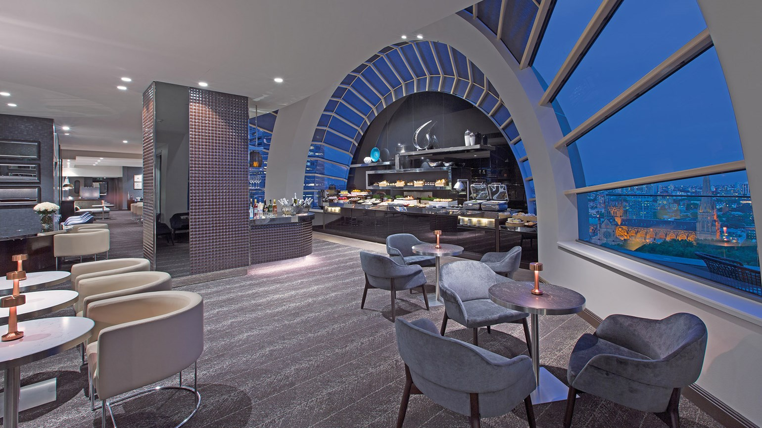 The Sheraton Club Lounge was redone as part of the Sheraton Grand Sydney Hyde Park's $50 million renovation.