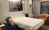 Once pulled out, the Inova bed has a queen-size mattress -- and more Disney-inspired art is revealed.
