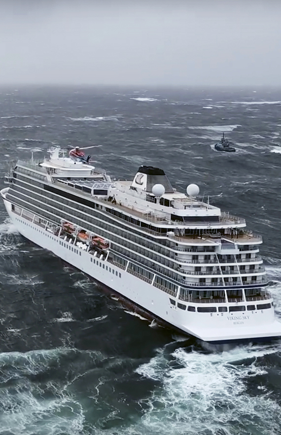 The Viking Sky battles rough seas off Norway's stormy western coast. Many passengers had to be evacuated in a helicopter rescue operation.