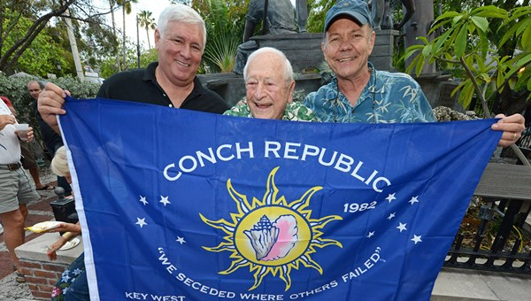 Stuart Newman, center, flanked by former state representative Ron Saunders and Florida Keys businessman Ed Swift, on the 30th anniversary of the declaration of a Conch Republic in Key West. In addition to cruise lines, Newman's agency has represented the Keys for decades.