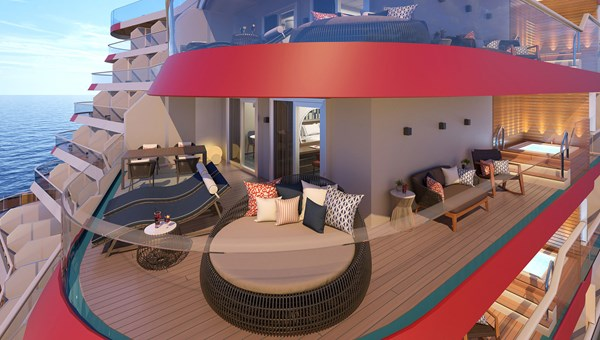 Excel Aft Suites will have wraparound balconies, a private outdoor hot tub and areas for al fresco dining and relaxing.