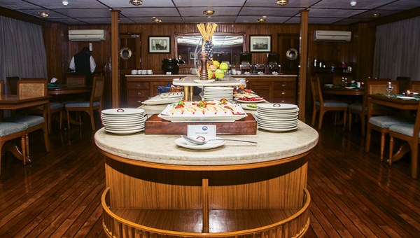 The dining room onboard the Bengal Ganga, where Indian and Bangladeshi meals were served three times a day.