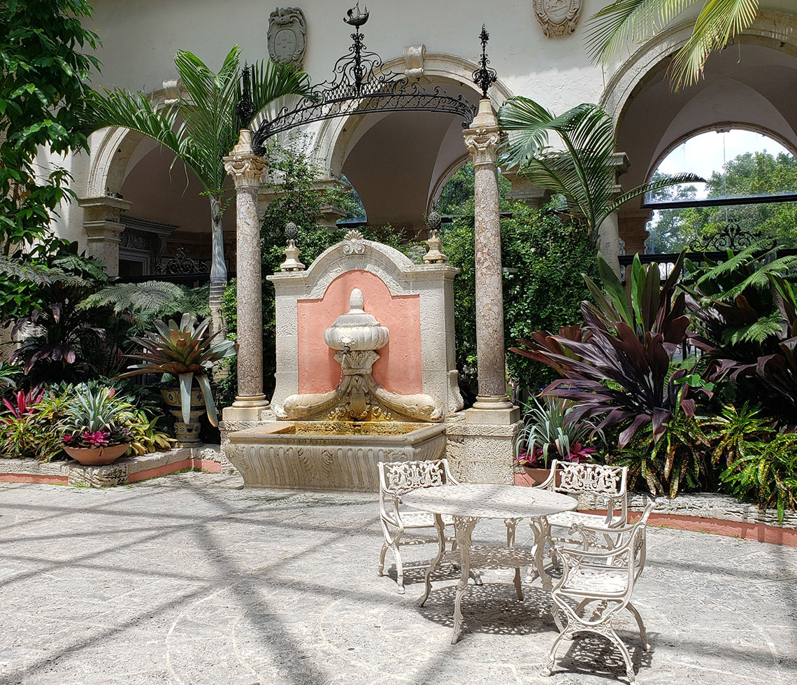 A fountain in the interior courtyard of the Vizcaya Museum House & Gardens in Miami.